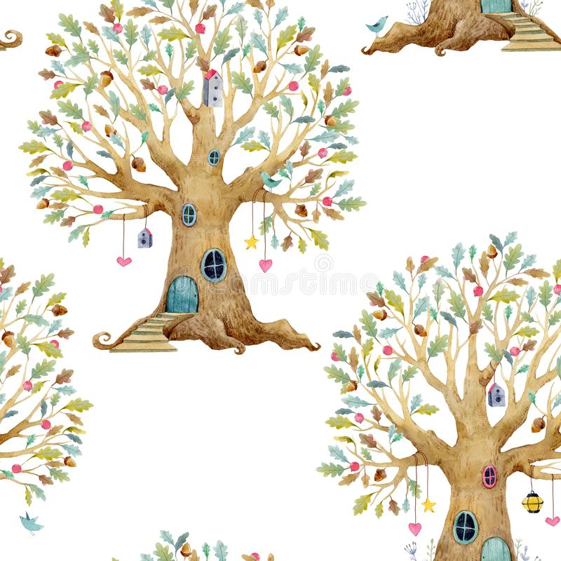 Akwarela drzewnego domu wzór ilustracja wektor