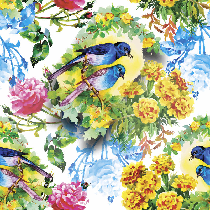 Akwarela Dzicy egzotyczni ptaki na kwiatu bezszwowym wzorze na białym tle ilustracji