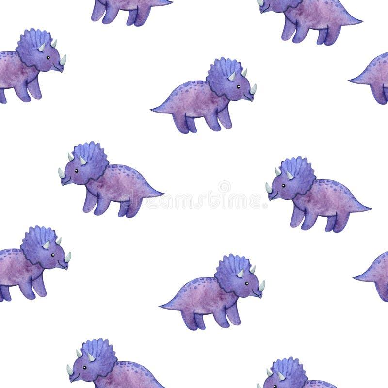 Akwarela dziecięcy bezszwowy wzór z purpurowymi dinosaurami obraz stock