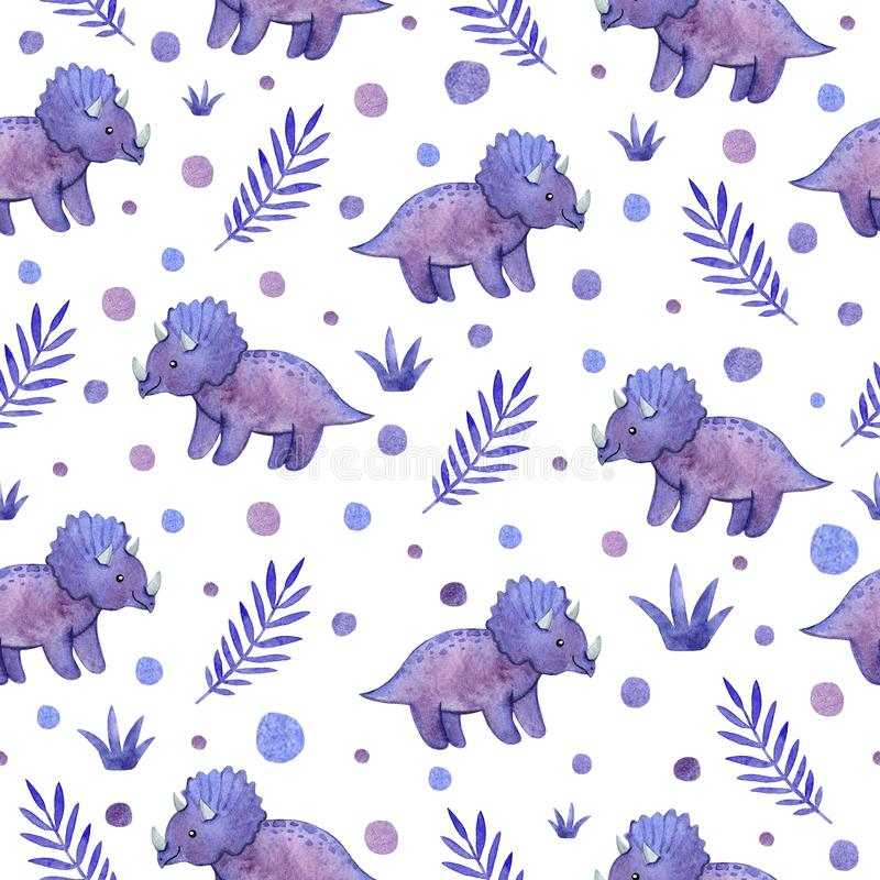 Akwarela dziecięcy bezszwowy wzór z purpurowymi dinosaurami i roślinami obrazy stock