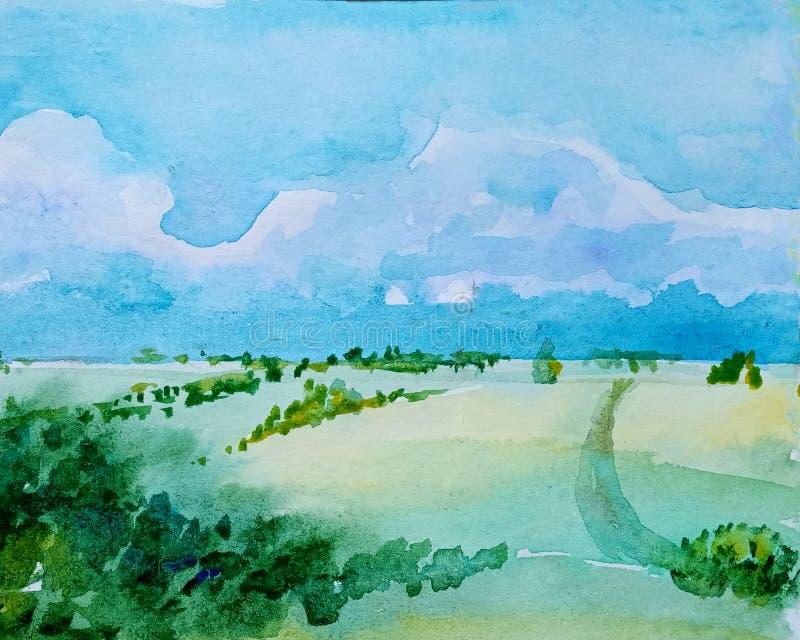 Akwarela dzienny wiejski krajobraz z zielonymi łąkami, footpath i wzgórzem z lasem, obrazy stock