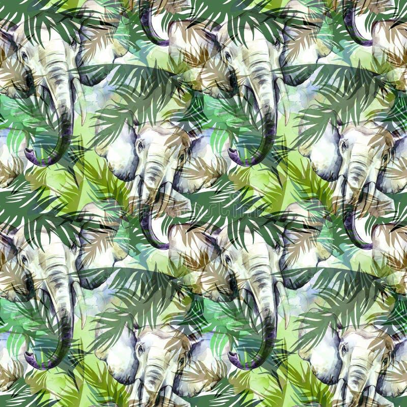Akwarela egzotyczny bezszwowy wzór Słonie z kolorowymi tropikalnymi liśćmi Afrykański zwierzęcia tło Przyrody sztuka ilustracji