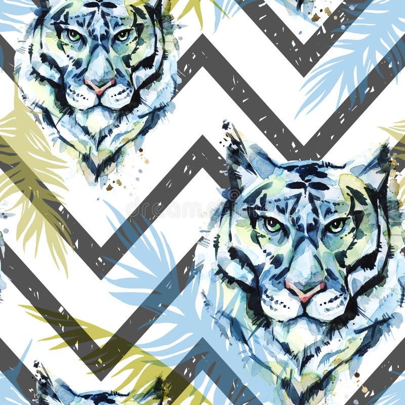 Akwarela egzotyczny bezszwowy wzór Tygrysy z kolorowymi tropikalnymi liśćmi na geometrycznej teksturze zwierząt afrykańskich