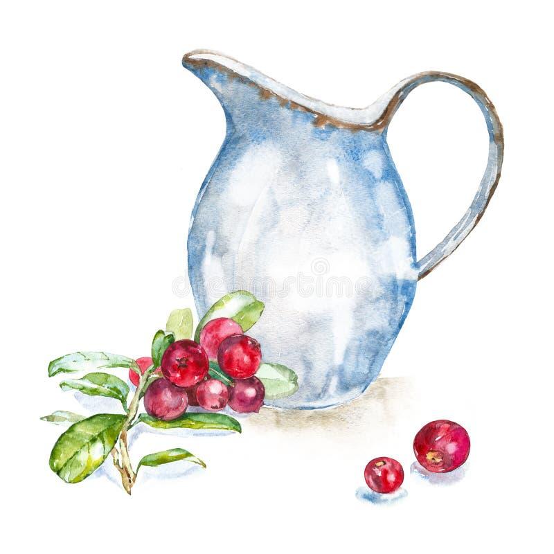 Akwarela emaliowy dzbanek świeży mleko i cranberries ilustracja wektor