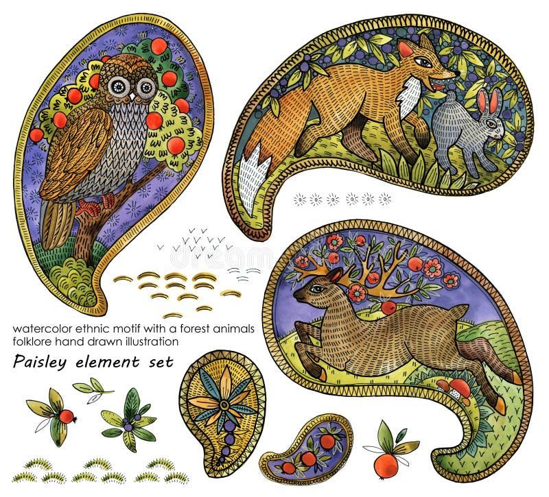 Akwarela etniczny motyw z lasowi zwierzęta folklor ilustracja paisley elementu set royalty ilustracja