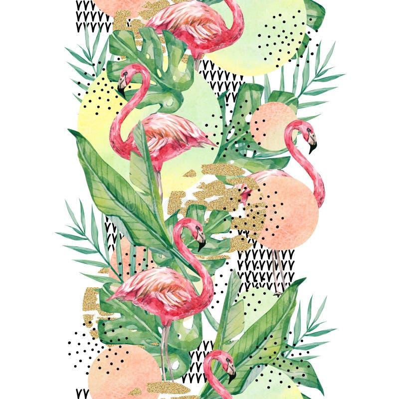 Akwarela flaming i, rozgałęziamy się tło i opuszczamy - abstrakcjonistyczna bezszwowa deseniowa tropikalna roślina royalty ilustracja