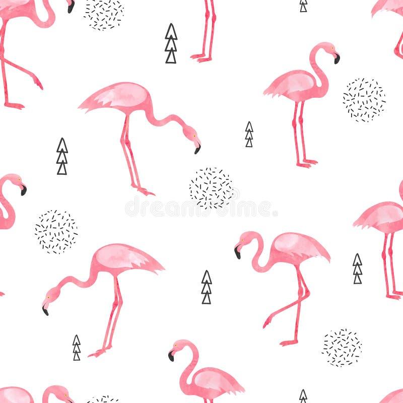 Akwarela flaminga bezszwowy wzór ilustracji