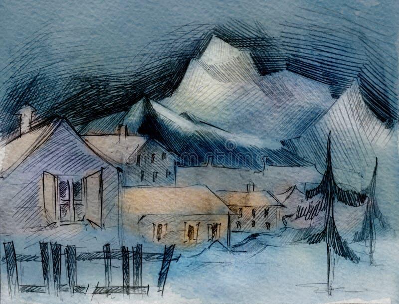 akwarela górskiej wioski. ilustracja wektor