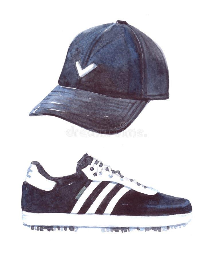 Akwarela golfowy kapelusz i but ilustracja odizolowywająca royalty ilustracja