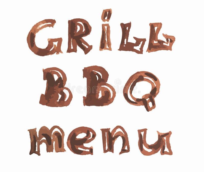 Akwarela grilla bbq menu ilustracja wektor