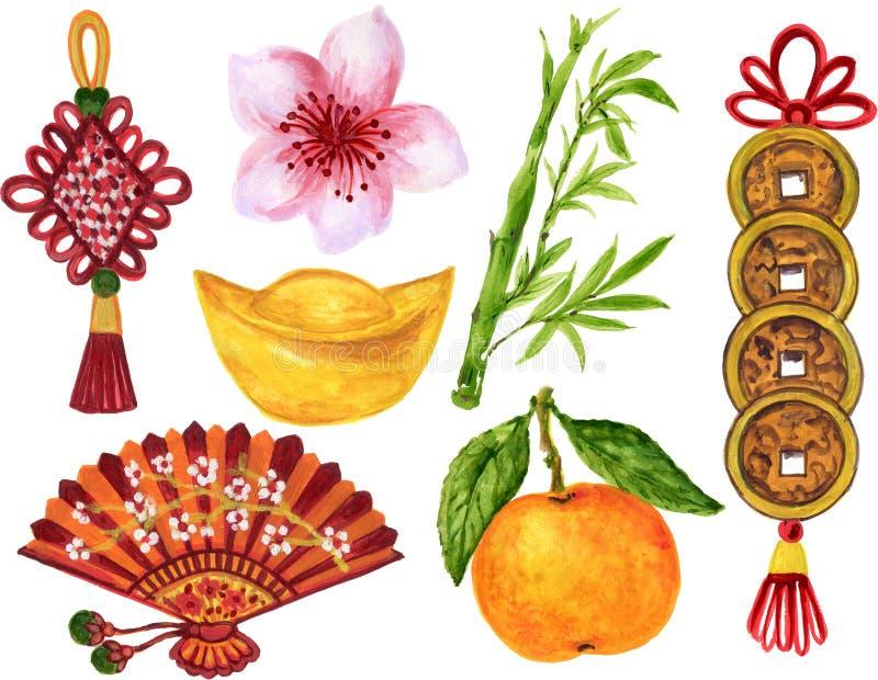Akwarela guaszu azjaty stylowa i Chińska Japońska nowy rok elementów ręki farba royalty ilustracja