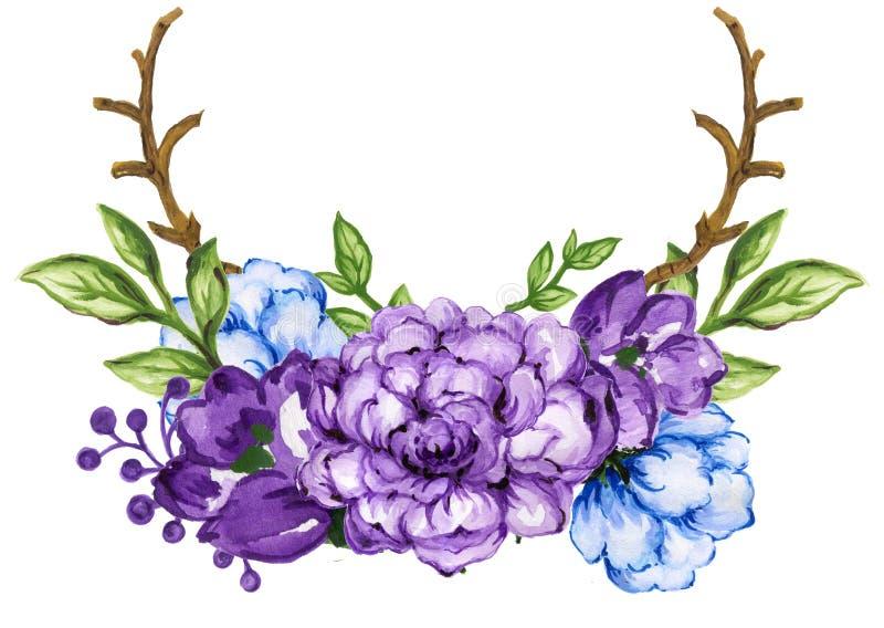 Akwarela guaszu bukiety kwiatu wianku ramy set royalty ilustracja