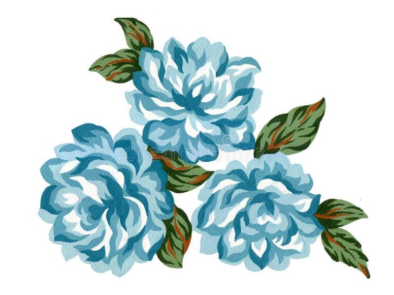 Akwarela guaszu kwiatu błękita róży bukieta zieleni liści pojęcia Kolorowi przygotowania dla kartki z pozdrowieniami lub zaprosze royalty ilustracja