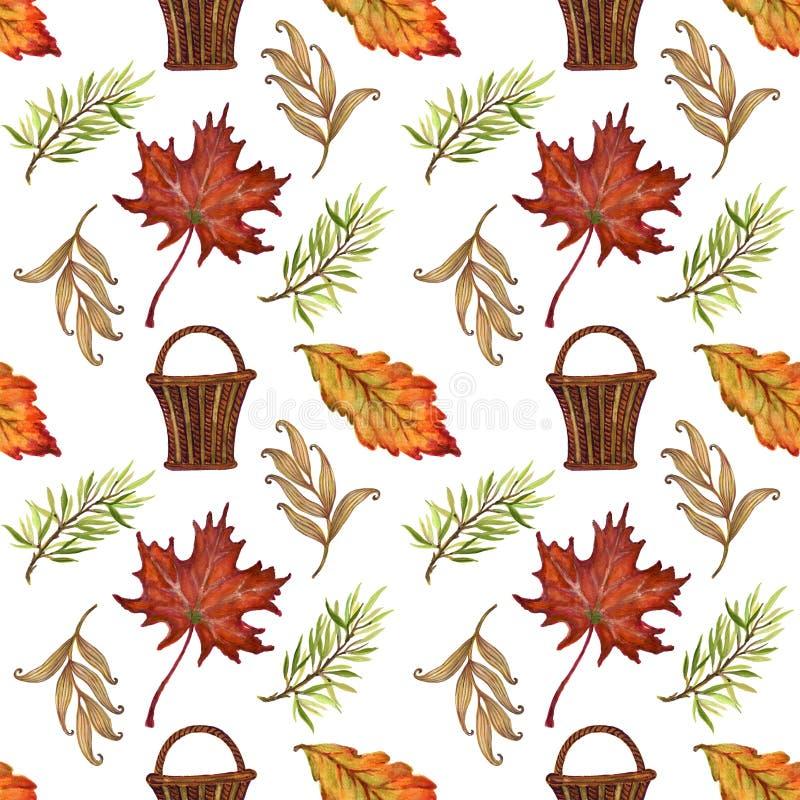 Akwarela guaszu rocznika jesień i sezonu jesiennego bezszwowy klepnięcie ilustracji