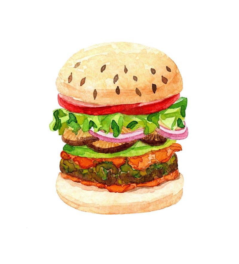Akwarela hamburger royalty ilustracja