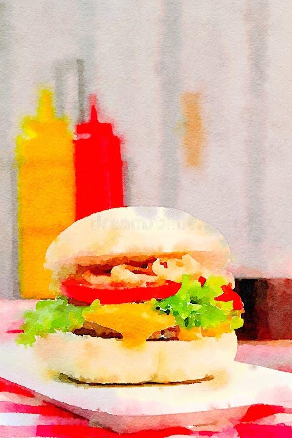 Akwarela hamburger z condiment ilustracji