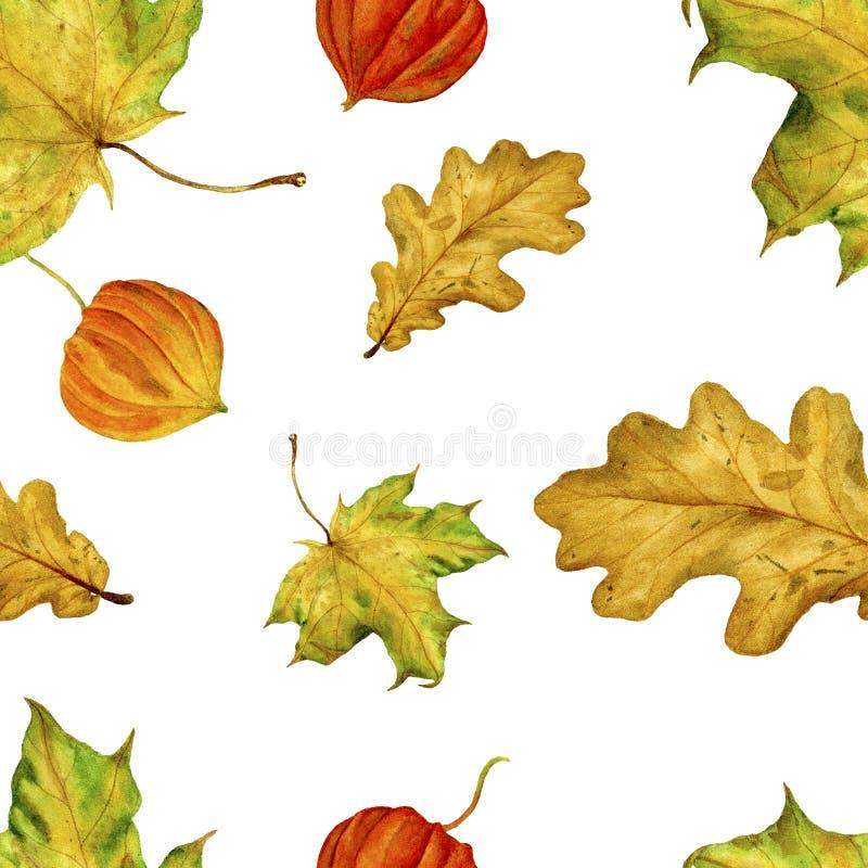 Akwarela handmade liście Wzór jest bezszwowy z jesień liśćmi Dla twój projekta tkanina, opakunkowy papier, etc, royalty ilustracja