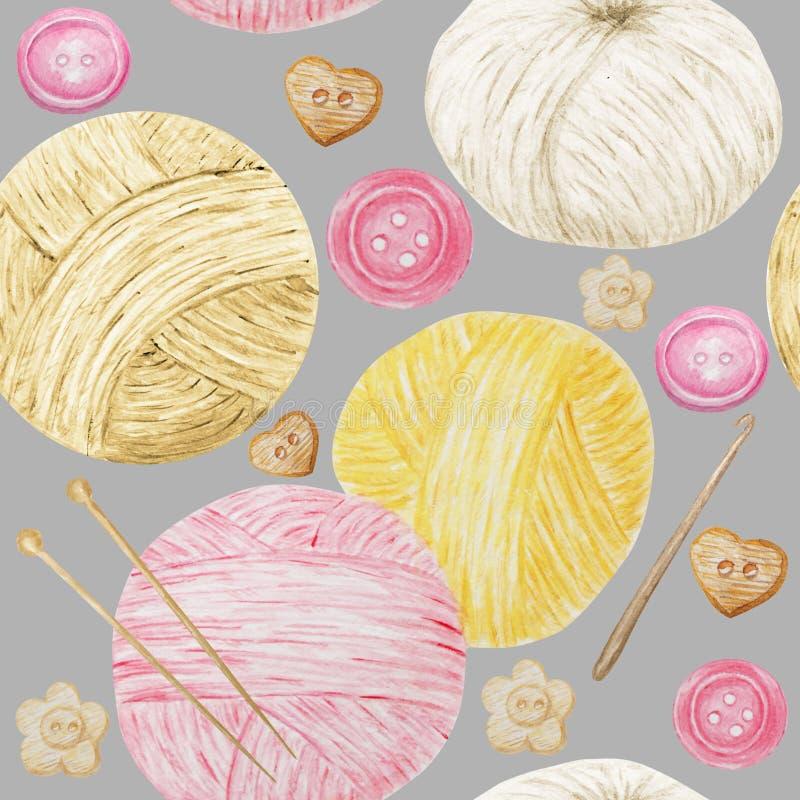 Akwarela hobby Bezszwowy deseniowy dzianie i szydełkowanie, wełny przędza Śliczna Kolekcja ręka rysujący kolor żółty, menchia, bi royalty ilustracja