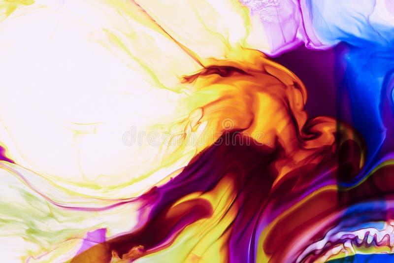 Akwarela i akrylowy abstrakt kolorowe t?o Mieszanka, pluśnięcia i rysunki kolory: błękit, czerwień, kolor żółty, brąz, biały royalty ilustracja