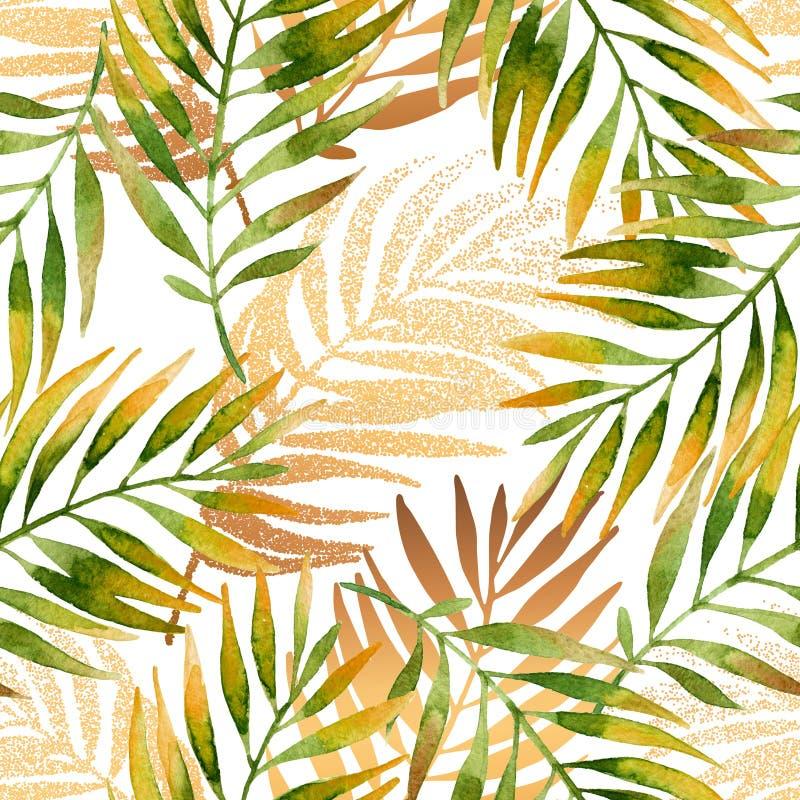 Akwarela i złoty graficzny palmowego liścia bezszwowy wzór ilustracji