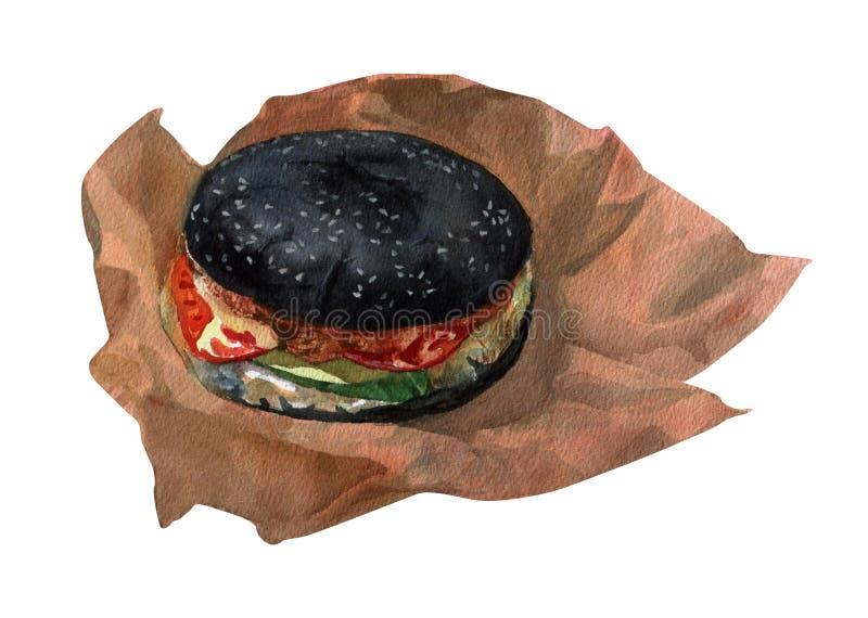 Akwarela ilustracyjnego czarnego hamburgeru kolorowy odosobniony przedmiot na białym tle dla reklamy ilustracji