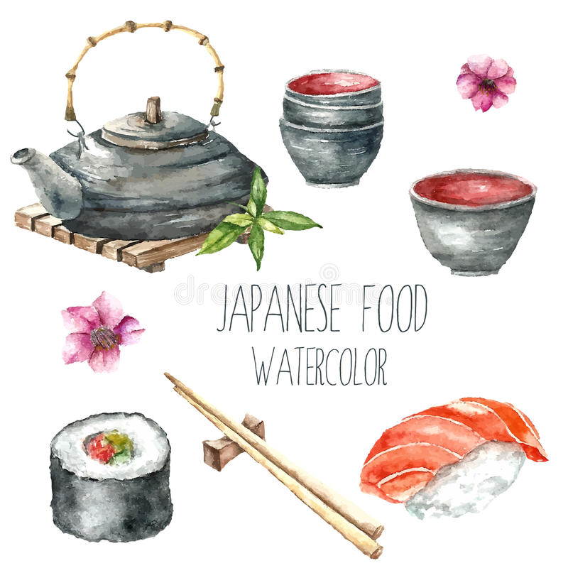 Akwarela japończyka jedzenie ilustracji