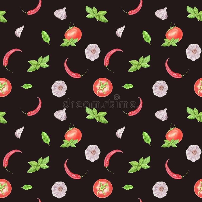 Akwarela jarzynowy bezszwowy wzór na brązu tle Czosnek, basila liść, pomidor, chili pieprz royalty ilustracja