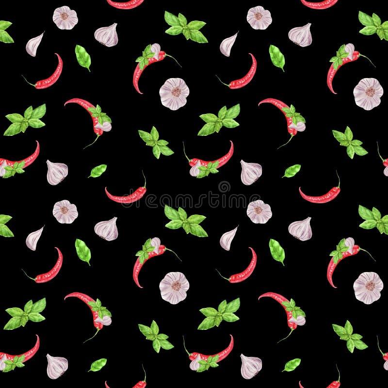 Akwarela jarzynowy bezszwowy wzór na czarnym tle Czosnek, basila liść, chili pieprz royalty ilustracja