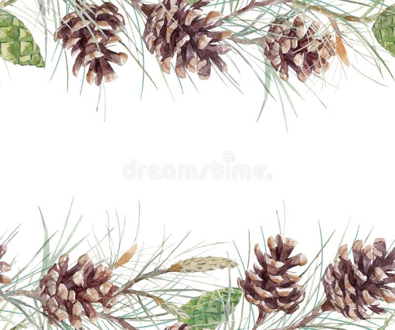 Akwarela jedlinowego rożka wzór ilustracja wektor