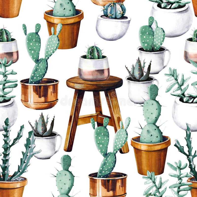 Akwarela kaktusa pustyni tropikalny ogrodowy bezszwowy wzór Watercolour kaktusa wzór royalty ilustracja