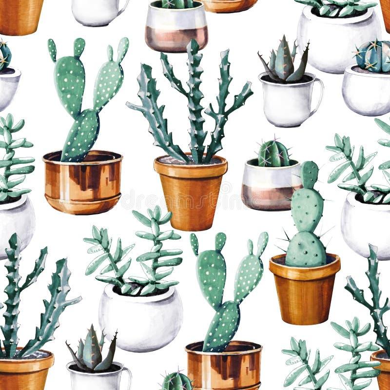 Akwarela kaktusowy tropikalny ogrodowy bezszwowy wzór Watercolour kaktusa wzór fotografia royalty free