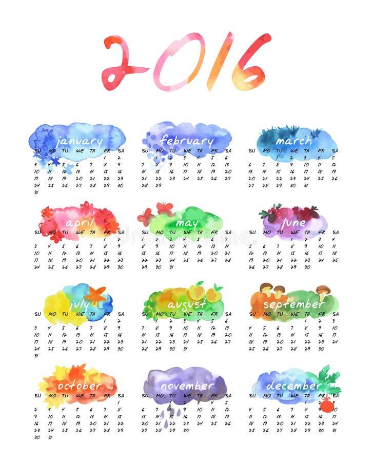 Akwarela kalendarz 2016 royalty ilustracja