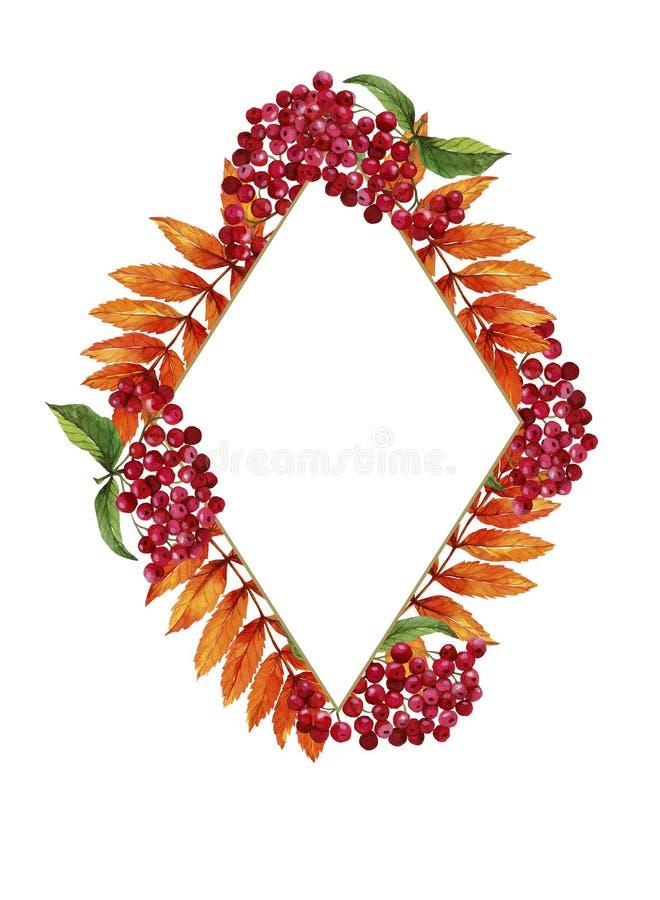 Akwarela karciany Szczęśliwy Halloween Rhombus rama Sprig viburnum Prostokątna rama na krawędzi, jesień liście, pajęczyny, uderza royalty ilustracja