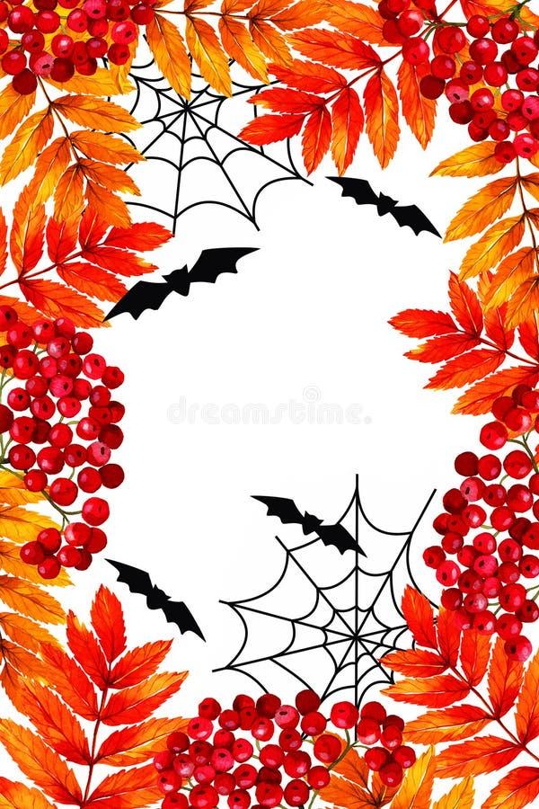 Akwarela karciany Szczęśliwy Halloween Sprig viburnum Prostokątna rama na krawędzi, jesień liście, pajęczyny, uderza royalty ilustracja