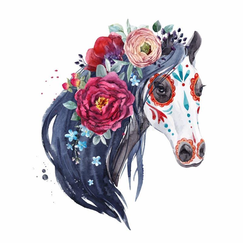 Akwarela koński wektorowy portret royalty ilustracja