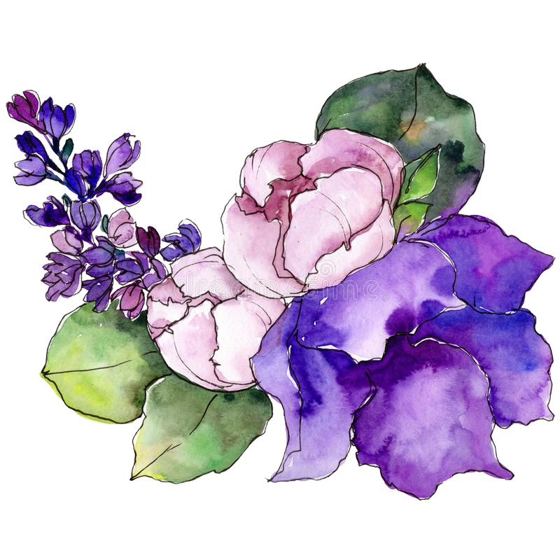 Akwarela kolorowego bukieta tropikalny kwiat Kwiecisty botaniczny kwiat Odosobniony ilustracyjny element royalty ilustracja