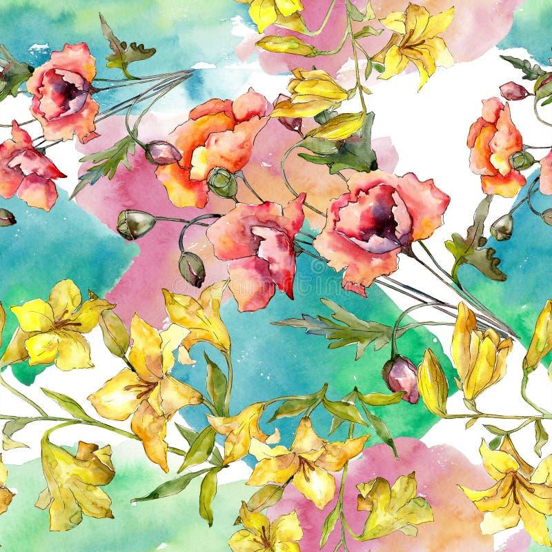 Akwarela kolorowy bukiet maczka kwiat Kwiecisty botaniczny kwiat Bezszwowy tło wzór ilustracja wektor