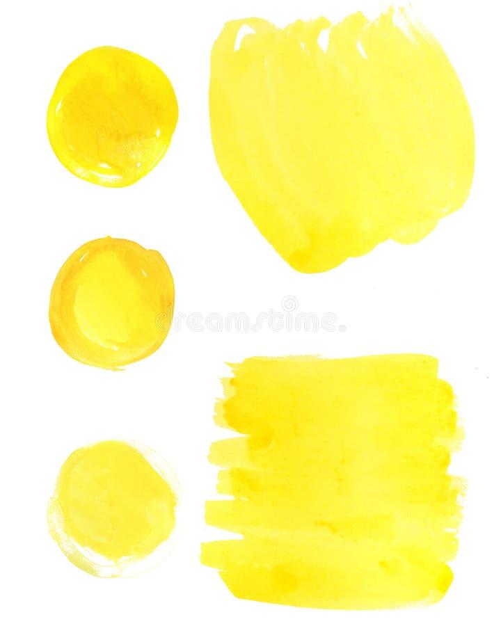Akwarela koloru żółtego plamy na białym tle obrazy royalty free