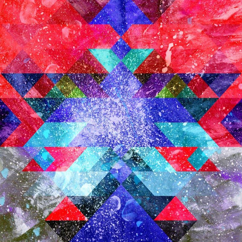 Akwarela koloru abstrakcjonistyczny geometryczny tło royalty ilustracja
