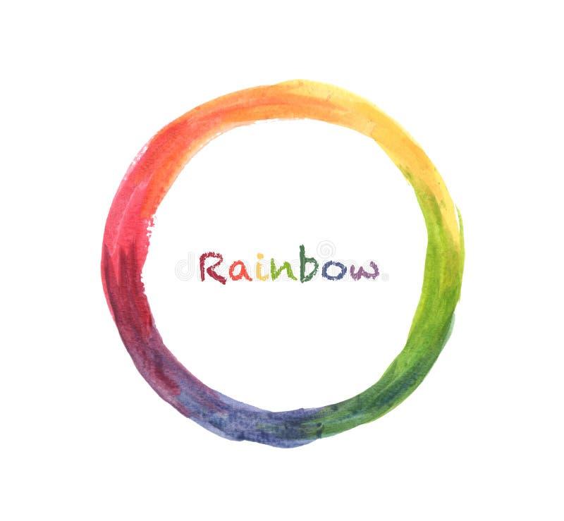 Akwarela koloru koło, ręka malował tęczy tło ilustracji