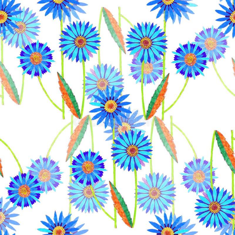 Akwarela kosmosu błękita dekoracyjni kwiaty bezszwowy wzoru royalty ilustracja