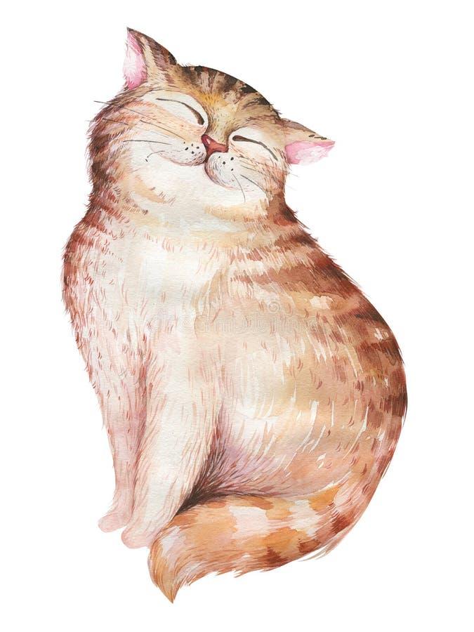 Akwarela kota śliczny odosobniony ilustration Kocha kreskówka kotów charakteru dla valentine ` s karty Nursary sztuki projekt ilustracja wektor
