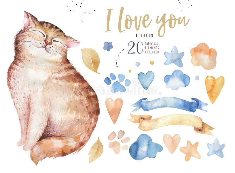 Akwarela kota śliczny odosobniony ilustration Kocha kreskówka kotów charakteru dla valentine ` s karty Nursary sztuki projekt ilustracji