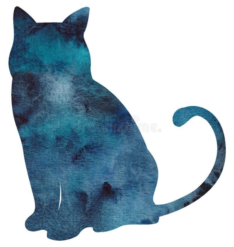 Akwarela kota ręka malująca sylwetka royalty ilustracja