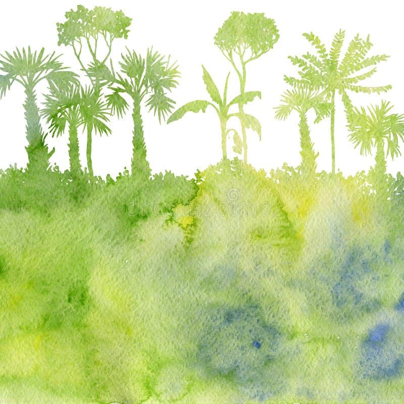 Akwarela krajobraz z drzewkami palmowymi ilustracji