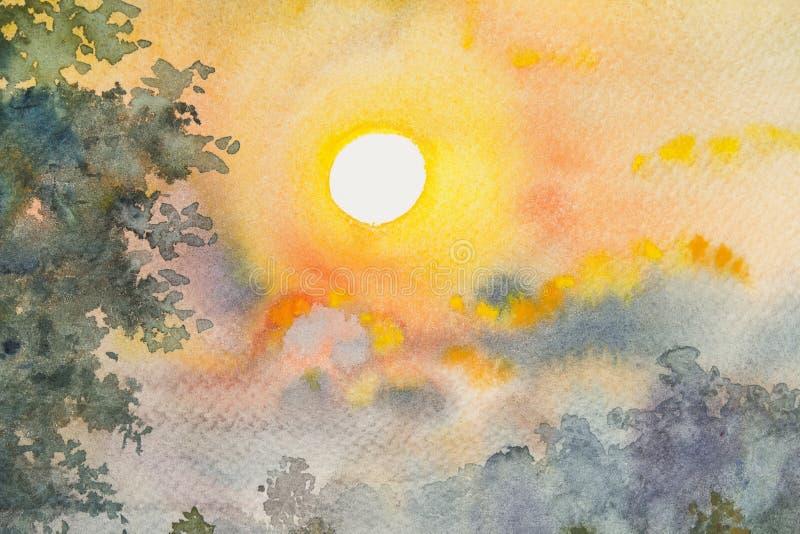 Akwarela krajobrazowego obrazu oryginalny żółty czerwony kolor piękny światło słoneczne royalty ilustracja
