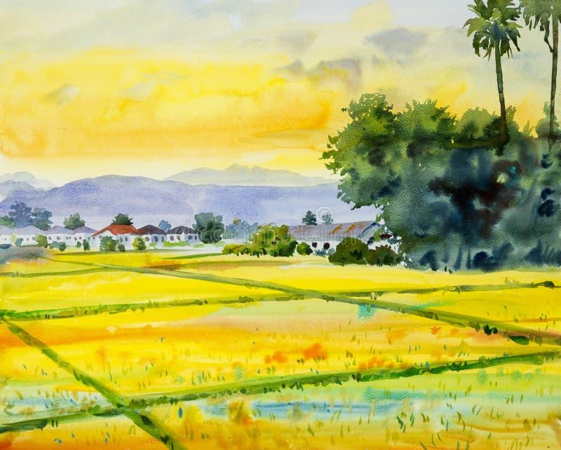Akwarela krajobrazowy obraz kolorowy wioska i ryżu pole royalty ilustracja