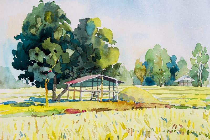 Akwarela krajobrazowy oryginalny obraz kolorowy chałupy i ryż pole ilustracja wektor