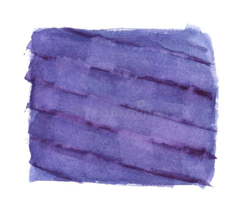 Akwarela kwadrat purpurowi paski z diagonalnymi ciemnymi liniami - wręcza malującego element odizolowywającego na bielu ilustracja wektor