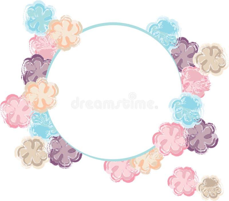 Akwarela kwiatów błękitnego brązu tła lata różowej pomarańczowej białej wiosny kwiecista rama ilustracji